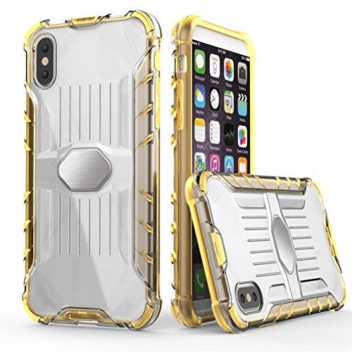 iPhone X Hülle, Voguecase Transparent Schutzhülle / Case / Cover / Hülle / 2 in 1 TPU + PC für magnetischen Auto Mount Gel Skin für Apple iPhone X (Schwarz) + Gratis Universal Eingabestift Orange