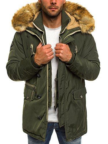 OZONEE Herren Winterjacke Wärmejacke Parka Militärstil Mantel Coat Jacke Sportjacke Kapuzenjacke J.BOYZ X1045K KHAKI 2XL (Khaki Snowboard Jacke)