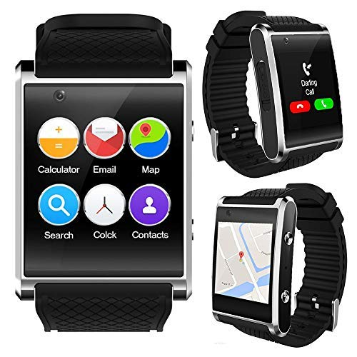 inDigi® GSM entsperrt. Stilvolle Android 5.1Smart Watch Phone GSM 3G + WiFi GPS + Herzfrequenz Sensor + Temperatur Sensor (Gsm Unlocked Quadband-handy)