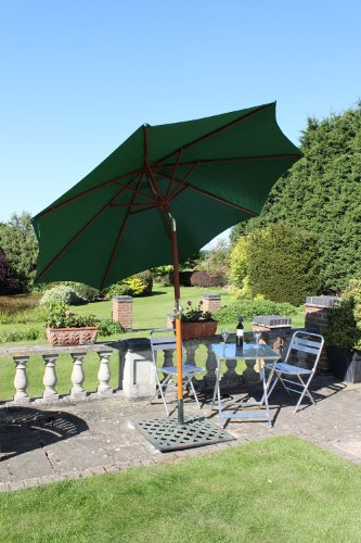 olive-grove-3m-wide-garden-parasol-in-green-with-tilt-crank