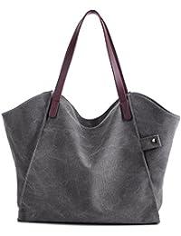 Damen Leinwand Handtasche Umhängetasche Tasche Shopper Henkeltasche aus Canvas