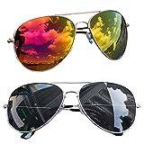 easy4fashion myfashionist 2 Stück Pilotenbrille Aviatorbrille Portobrille Sonnenbrille Brille verspiegelt