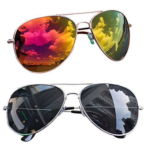 easy4fashion myfashionist 2 Stück Pilotenbrille Aviatorbrille Portobrille Sonnenbrille Brille...