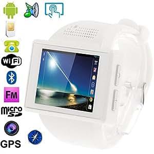 Montre téléphone Android 4.1 Smartwatch tactile GPS WiFi MP3 Blanc