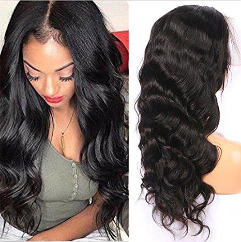 Sunwell perruque Body Wave ondulés grade 5A cheveux humains brésiliens dentelle frontal pour femmes (couleur naturelle 30.4cm)