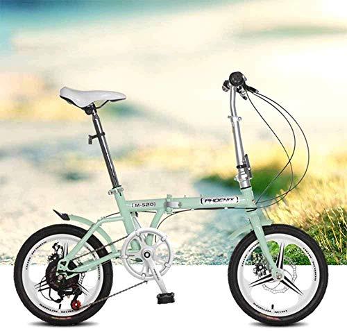 Kinderfahrräder 16 Zoll Verstellbar Tragbar Zum Radfahren Ultraleicht-Schüler Junge Mädchen Erwachsenes Modell Geschwindigkeit Doppelscheibenbremse Sicherheitsübung Rosa,Green