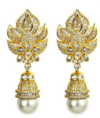 Orecchini Pendenti Donna Placcato Oro Imperial Corona & Lampada Da Tavolo Perla Cz Da Aienid