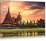 Buddha Tempel im Sonnenuntergang Format: 120x80 auf Leinwand, XXL riesige Bilder fertig gerahmt mit Keilrahmen, Kunstdruck auf Wandbild mit Rahmen, günstiger als Gemälde oder Ölbild, kein Poster oder Plakat