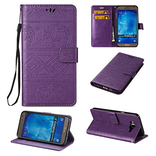 Hülle für iPhone 6 6S (4.7 zoll), Owbb Elefants Muster Handyhülle PU Ledertasche Flip Cover Wallet Case mit Stand Function Innenschlitzen Design Rose Gold(Ein freier Stylus als Geschenk) Lila