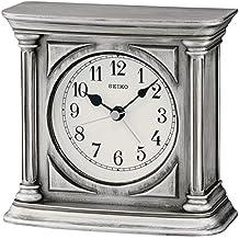 Seiko Reloj de sobremesa con alarma, acabado antiguo Madera, Plata