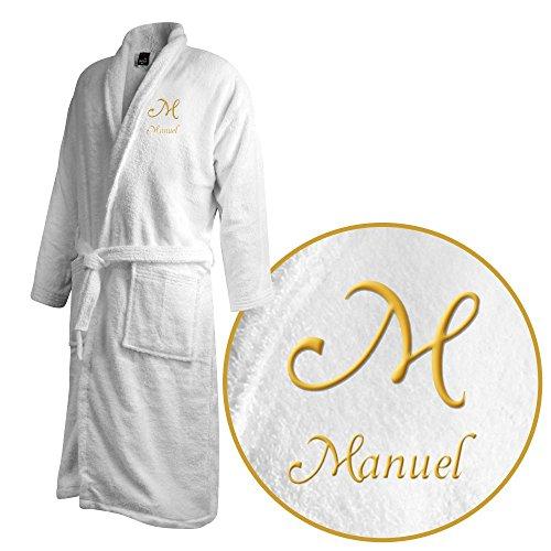 Bademantel mit Namen Manuel bestickt - Initialien und Name als Monogramm-Stick - Größe wählen White