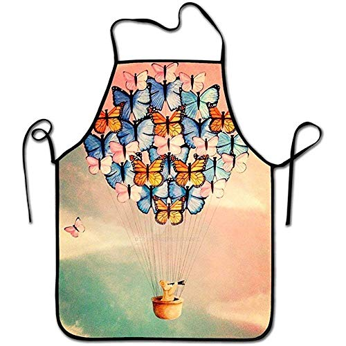 Laohujia Design Bib Chefs Aprons Adjustable Women Men Personalized Cool Washable Working Apron Keep Clean Butterfly Hot Air Balloon for Kitchen Cooking Art Baking Restaurant (Air Balloon Hot Butterfly)