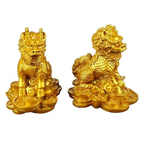 Feng Shui Chi Lin/Qilin Kylin Drache Pferde auf Alten Münzen Reichtum Statue Dekoration Large Gold