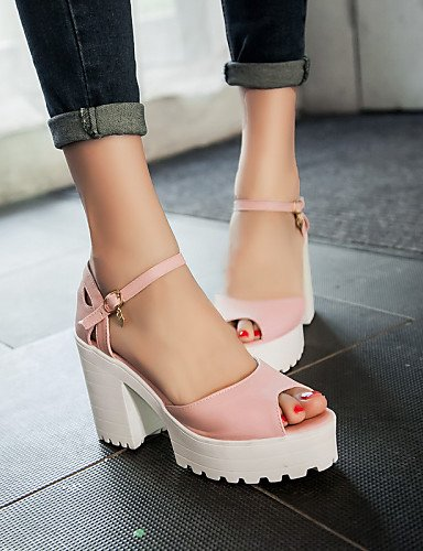 UWSZZ IL Sandali eleganti comfort Scarpe Donna-Sandali-Casual-Tacchi / Spuntate-Quadrato-Finta pelle-Nero / Blu / Rosa Pink