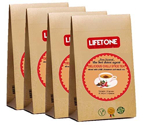 Té de chile LIFETONE | Mezcla de chile rojo con canela y té negro de Ceilán premium | 80 bolsitas de té