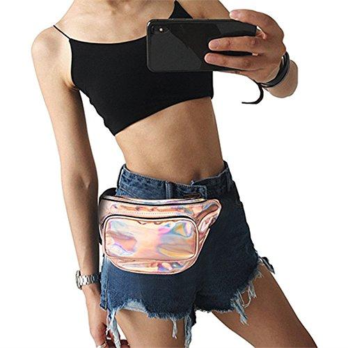 GFEU Bolso de Cintura Unisex Holograma, Bolsa de Moda Holográfica Brillante para el Cinturón, Bolsa Impermeable Ideal para el Viaje, Festival, Fiesta, Viajes, Correr, Caminar, Dorado