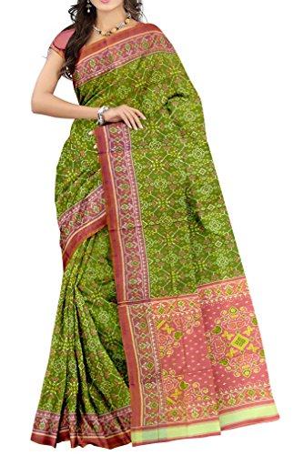 Sindhoi Patola Art Silk Saree (Am_333_Green)