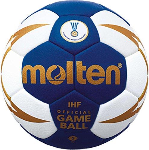 Top Wettspielball, Offizieller Spielball der IHF, sehr weiches Synthetik-Leder - Farbe: Blau/Weiß/Gold, Größe: 2 von Molten