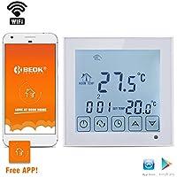 beok tds23wifi-ep habitación termostato Digital programable por suelo radiante calefacción eléctrica inalámbrico controlador de temperatura con pantalla táctil LCD y sensor de suelo, mando a distancia en línea Control por Smartphone APP, blanco, blanco, 230.00 voltsV