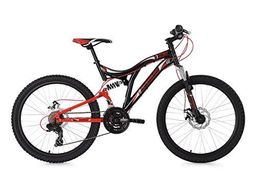 KS Cycling Kinder Mountainbike Fully Nice RH 43 cm Fahrrad, schwarz-Rot, 24 Zoll