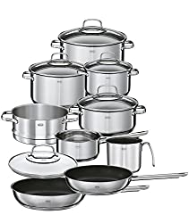 RÖSLE ELEGANCE pot set, 10-pcs., Stainless steel 18 / 10, 2-tone-polished, with pots, glass lid, pan coated, interior scaling, induction suitable, dishwasher-safe