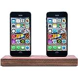 WoodenHP Dual-Dock inkl. Lightning Kabel iPhone 7 | iPhone 7 Plus | iPhone 6/6S | iPhone SE | iPhone 5/5S Dock Nussbaumholz Dockingstation