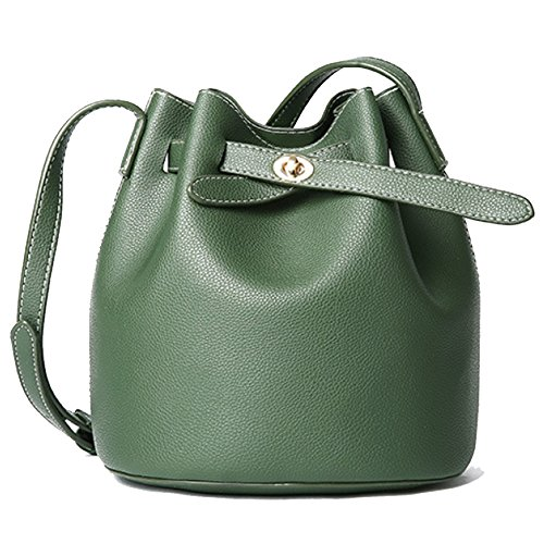 Frauen Reine Farbe Schultertasche Pu Umhängetasche Große Kapazität Eimer Damen Taschen Shopping Travel,Green-17 * 21 * 23CM