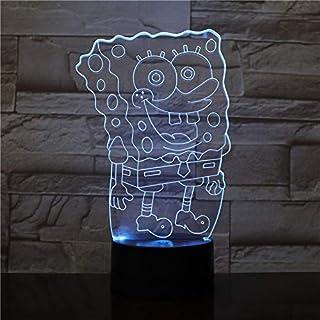 Sproud 3D LED Nachtlicht/Touch 7 Farben Schreibtischlampe/Ändern USB Tischlampen/Für Kindergeschenke Spielzeug Dekoration SpongeBob