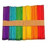 Espeedy Palos de helado,50pcs diy color helado palitos de madera de color primario paletas herramientas