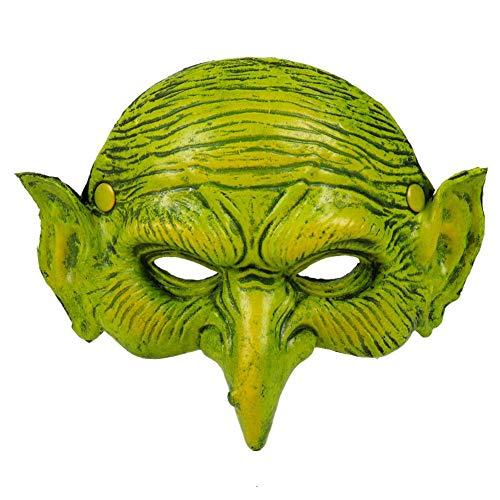 ReauBest Hexenmaske Halbes Gesicht PU Schaum Grüne Maske für Halloween Weihnachten Karneval Party Maskerade