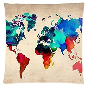 babyssj Throw almohada cubierta Mapa del mundo en Watercolor 18x 18