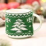 TEBAISE Weihnachten Karneval Deko Weihnachtsdekor gestrickte Wollschale Abdeckung Staubmantel für Glasschale Keramikschale