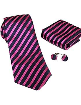 MONETTI Set de Corbata - 100% seda - rayado púrpura / negro - en la caja de regalo!