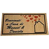 Zerbino Personalizzato da interno - Benvenuti a Casa, Tuo Testo - in cocco naturale cm. 100x50x2 LOVEDOORMAT Marchio Registrato Handmade in Italy