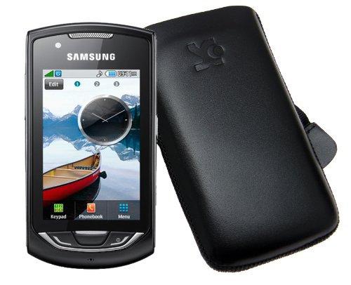 Original Suncase Echt Ledertasche für Samsung GT-S5620 in schwarz