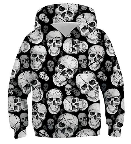 AIDEAONE Mädchen Hoodie Gedruckt 3D Gemusterte Schädel Pullover Mit Kapuze Fleece Sweatshirt Sportswear 11-14 Jahre