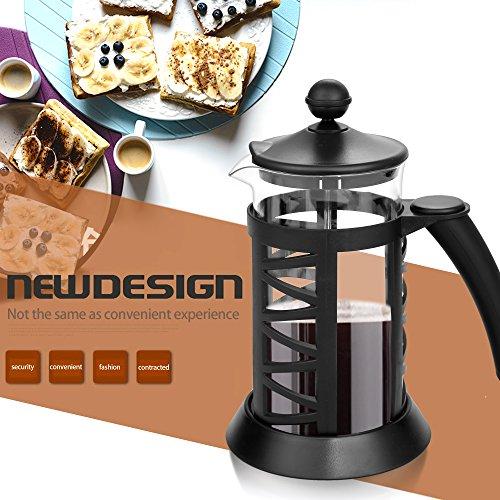 Beautytalk Kaffeebereiter Kaffeekanne (French Press System, Permanent Edelstahlfilter, 0,35 liters) DE Lager (schwarz Kunststoff, Glas) (Französische Presse-glas-becher)