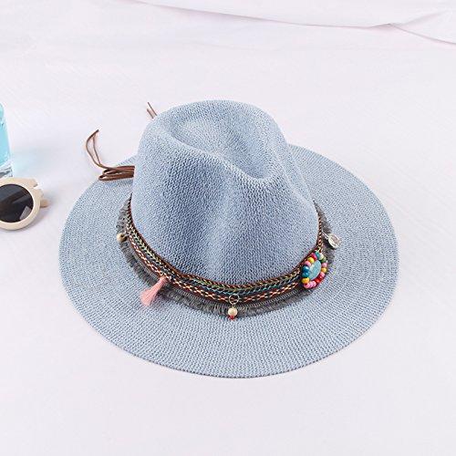 Estate spiaggia Visor cap tour sunscreen cappello di paglia femmina retrš° hat gemme di etnia (Signore Blu Visor)