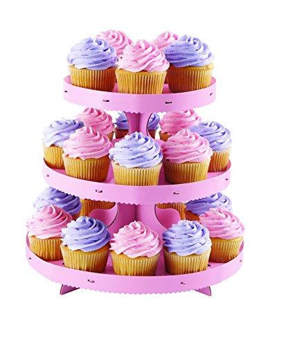 Wilton Cupcake-Ständer aus Wellpappe 3tiers-pink, andere, mehrfarbig Wilton Cupcake Ständer