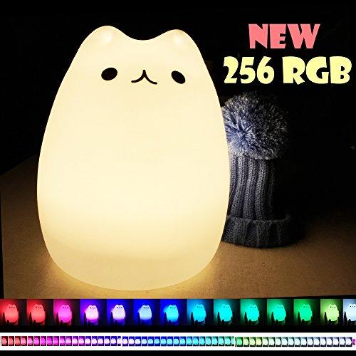 LED Nachtlicht Baby Nachtlampe Kinderzimmer, Silikon Nachtlicht Katze Dondidondy (Warmweiß/256RGB), Abnehmbarer Hut, Für Babys, Kinder, Erwachsene, Schlafzimmer, Babyzimmer, Nachtlichter Geschenk (Lange-bett-abdeckung)