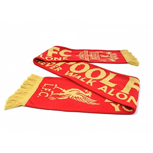 Liverpool FC You'll Never Walk Alone Red Gold Crest Liverbird Scarf LFC Official -