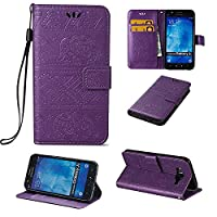 Galaxy J5 Wallet Case ESSTORE-EU Retro Elephant PU Leather Protective Covers with Card Slot Holder Wallet Case for Samsung Galaxy J5, Purple