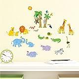 Decowall DS-8013 Dschungeltiere Dschungel Tiere Wandtattoo Wandsticker Wandaufkleber Wanddeko für Wohnzimmer Schlafzimmer Kinderzimmer (Klein)