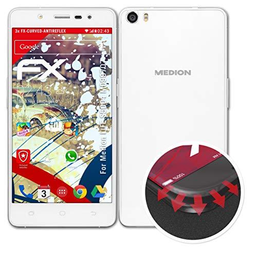 atFolix Schutzfolie passend für Medion Life S5004 MD99707 Folie, entspiegelnde & Flexible FX Bildschirmschutzfolie (3er Set)
