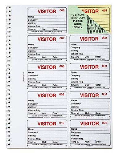 IDENTIBADGE Libro de visitas Recambio 100 Inserciones Sistema de aprobación de entrada y salida que cumple con GDPR (inglés)