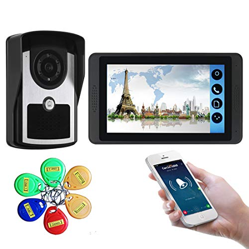 CCDYLQ Drahtlose Video-Türsprechanlage Türklingel-Gegensprechanlage, 7-Zoll-Wireless-LAN-Monitor mit verdrahteter HD-Außenkamera für Einfamilienhäuser, Remote Call Unlock Home Security System -