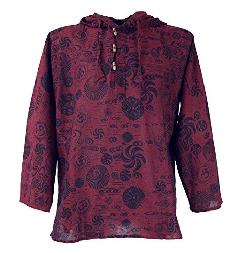 Guru-Shop Yoga Hemd, Goa Hemd Om, Sweatshirt, Herren, Baumwolle, Männerhemden Alternative Bekleidung Rot