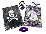 toyme 2Pack Artistic Pailletten Notebook Mermaid Pailletten Tagebuch, Magic Pailletten notebpad für Schreiben, Geschenke, Tagebuch Violett/Schwarz