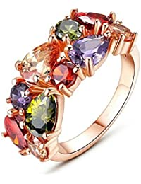 Ring Of Memories Mona Lisa Flowerets Vine Swiss Cubic Zirconia Rose Gold Sparkling Ring For Women And Girls
