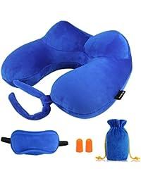 Nackenkissen aufblasbares, Morecoo aufblasbar Reisekissen, Ein comfortable, leichtes auch tragbare Nackenkissen für bequemen Schlaf im Flugzeug, Auto oder Zug. (Blau)